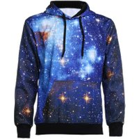 European Style 3D Space Starry Sky Hooded Hoodies Men's Sweatshirt   Fashion Long Sleeve Baseball Shirts Hip-hop Pullovers