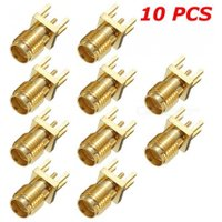 ZHAOYAO 10PCS SMA Female Solder Edge 1.2 mm Space PCB Clip Mount Straight RF Connector Plugs - Golden
